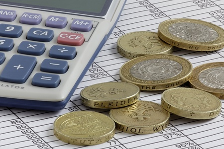 Calculator   Pound Coins on a Spreadsheet with extended depth of field