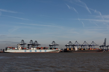 felixstowe: Shipping in Felixstowe Container Terminal in Suffolk,UK - the largest container port in the UK.-Feb 2012