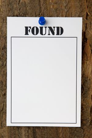 Found notice pinned to a tree stump - with copy space Stock Photo - 14465059