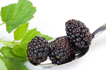 Ripe blackberries in a spoon on white background photo