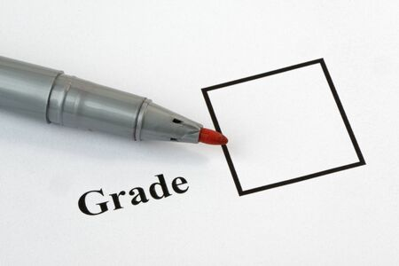 Grade box on an exam paper, with pen.36 mp image Stock Photo - 16688518