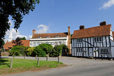 chappel: Village green,church and historic houses in Chappel,Essex,UK