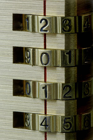 Close up of a combination lock with New Year date 2014 showing photo