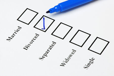 marital: Tick-boxes showing marital status on a blank form. Divorced ticked. Stock Photo
