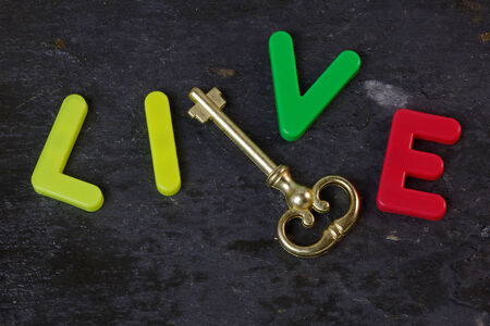 Antique key on a slate background with the word live in letters photo