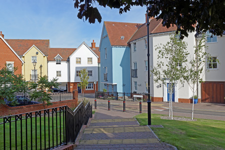 Modern urban housing in a UK town centre.
