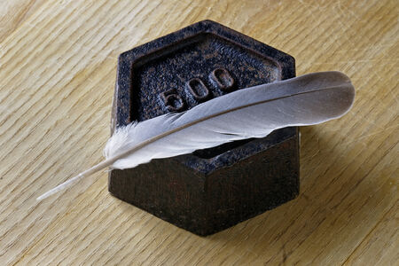 Close up of an antique 500 gram weight with a feather. Measurement concept.