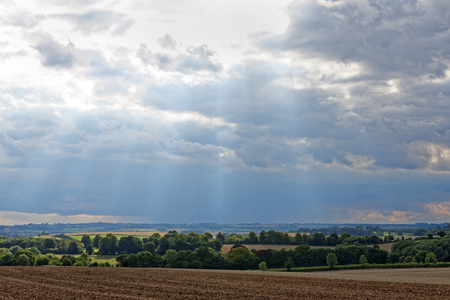 uplands: A view across the rolling chalk uplands of the Lincolnshire Wolds,UK