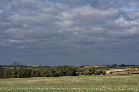 non urban scene: View over the Lincolnshire Wolds,UK, in winter with an approaching storm