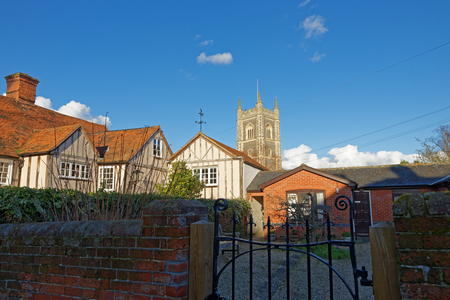 constable: View over rooftops towards the church in the picturesque village of Dedham,UK made famous by artist John Constable. Stock Photo