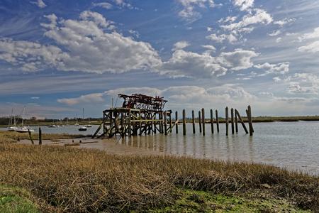 ballast: A derelict ballast loading quay on Alresford Creek,Essex,UK