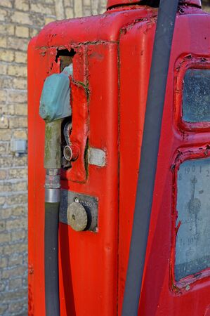 Detail of an old,disused petrol or gasoline pump in the UK countryside