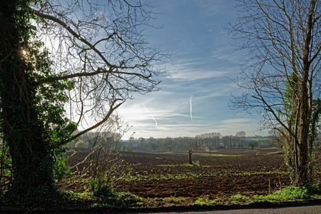 Ploughed fields in the Lincolnshire Wolds,UK,in Spring Stock Photo