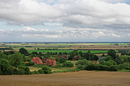 Lincolnshire UK. A view from the Wolds across the Fens towards Boston.
