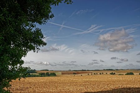 View across the farmland of the Lincolnshire Wolds,UK,in late summer Stock Photo