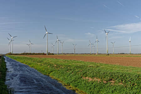 Wind turbines and drainage dyke in Lincolnshire,UK