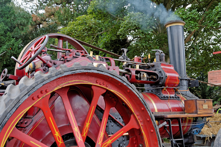 Close up detail of a vintage steam traction engine built in the UK in 1915