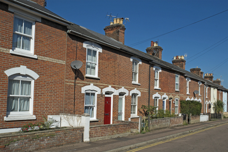 A row of typical Victorian terraced houses in Colchester,Essex,UK