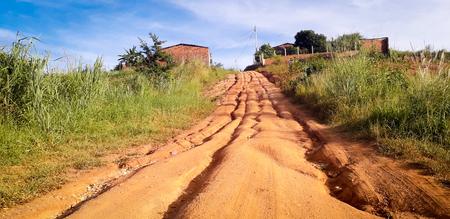 Itamatamirim City on interior of Brazil. Dirt road on Pernambuco. 版權商用圖片