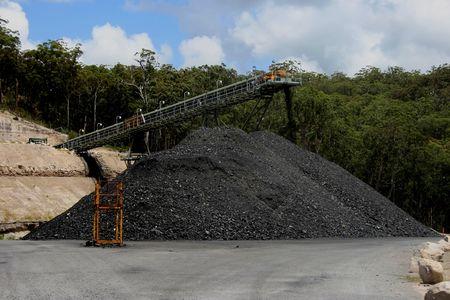 mine site: Coal stockpile and conveyor belt