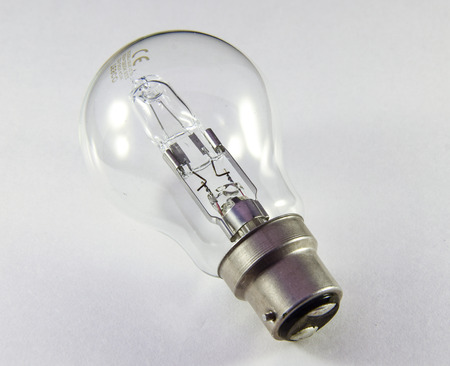 A modern domestic light bulb with a bayonet mount Stock Photo
