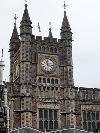 The Clock tower at Bristol Temple Meads train station, showing quarter past eleven
