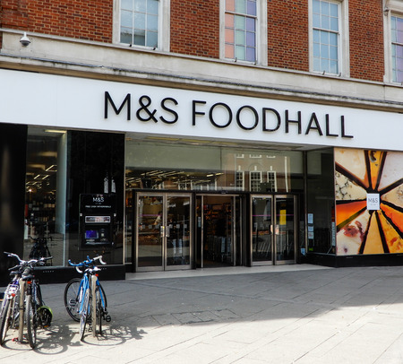 Reading, United Kingdom - May 09 2018:   Marks and Spencers food hall entrance in Friar Street