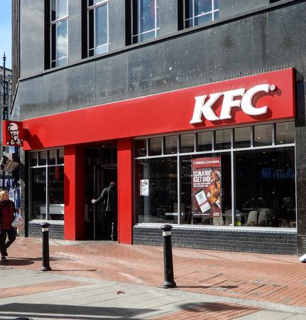 Reading, United Kingdom - April 26 2018:   The frontage of KFC on Broad Street