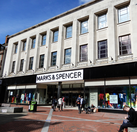 Reading, United Kingdom - April 26 2018:   The frontage of Marks and Spencers in Broad St Editorial