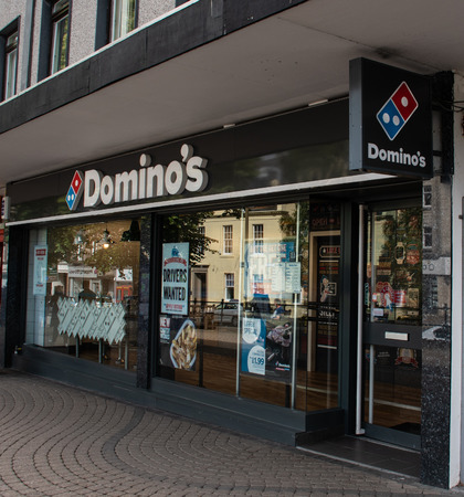 Stirling, United Kingdom - August 11 2018:   The front of Domino's pizza delivery shop in Pitt  Terrrace