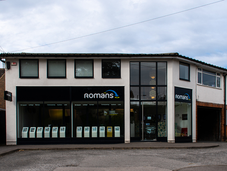 Woodley, United Kingdom - September 16 2018:   The office of Romans Estate agents on Loddon Bridge Rd