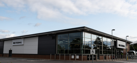 Reading, United Kingdom - August 27 2018:   The new Marks and Spencers food hall purpose built supermarket on Shepherds Hill roundabout Sajtókép