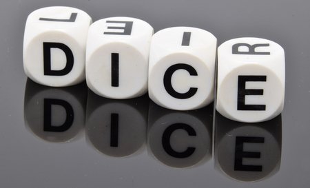 The word DICE spelt out with letter dice