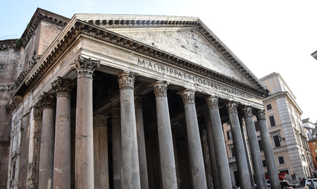 Rome, Italy - August 09 2017:   The entrance to the Pantheon, one o fthe worlds oldest surviving churches