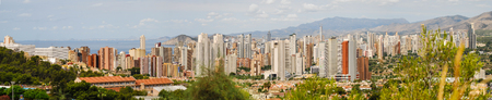 Benidorm, Spain - July 24 2012:   Panorama of the many skyscrapers of Benidorm in Spain Редакционное