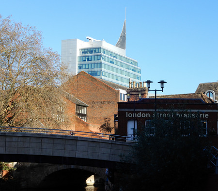 Reading, England - December 01 2017:   The Blade building behind London Street Brasserie on a sunny day in Reading Editöryel