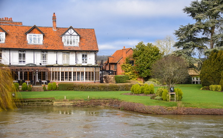 Reading, United Kingdom - January 28 2018:   A view of a Countryside restaurant taken over the River Thames