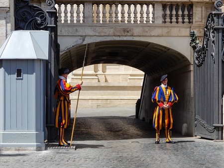 Rome, Italy 10th August 2017. A Couple of members of the Swiss Guard stand on duty at Vatican City gates