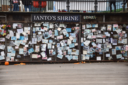 November 01 2017;  Cardiff Wales.  A shrine to Ianto Jones, a character from BBC TV series Torchwood, a spin off from Doctor Who