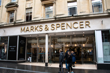 Bath, United Kingdom - October 13 2018:   The Frontage of Marks and Spencers department store on Stall Street