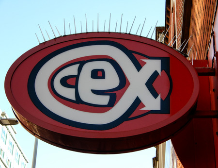 Reading, United Kingdom - February 07 2018:   Hanging sign of the CEX Shop in Friar St