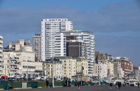 Brighton, United Kingdom - March 27 2018:   The houses, hotels and tower blocks of the city centre seen from the Sea Front