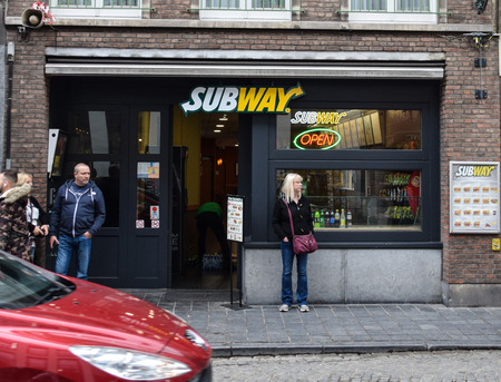 Bruges, Belgium - April 28 2018:   Frontage of Subway sandwich shop in Katelijnestraat