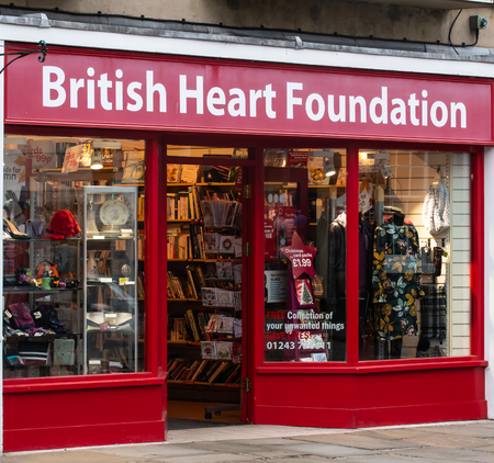 Chichester, United Kingdom - October 06 2018:   The entrance to the British Heart Foundation Charity shop on North Street