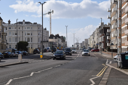Brighton, United Kingdom - March 27 2018:   A View up Kingsway into Hove