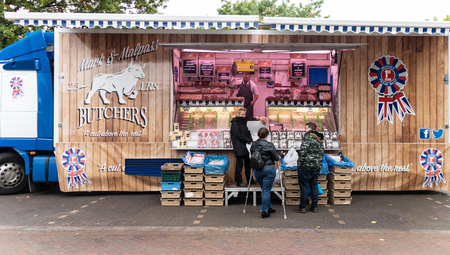 Chichester, United Kingdom - October 06 2018:   A lorry from Mark and Malpass butchers selling meats in Market Road Car Park market
