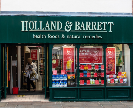 Chichester, United Kingdom - October 06 2018: The Front of the Holland And Barrett Health food shop on North Street Sajtókép