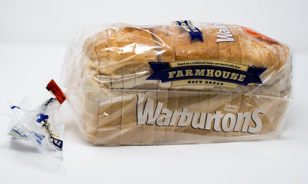 Reading, United Kingdom - September 29 2018:   A pre-packaged loaf of white sliced bread made by Warburtons
