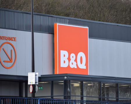 Brighton, United Kingdom - March 28 2018:   Front of B and Q store in Lewes Road