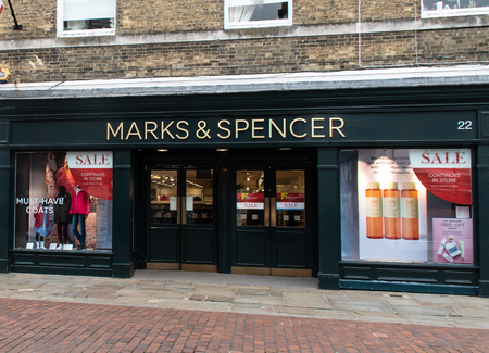 Chichester, United Kingdom - October 06 2018:   The main entrance to Marks and Spencers in North Street